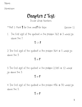 Go Math 5th Grade Chapter 2 Test by Top Knot Designs by a ...