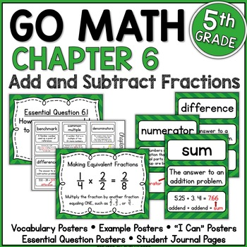 Go Math Chapter 6 5th Grade Resource Packet - Add and Subtract Fractions