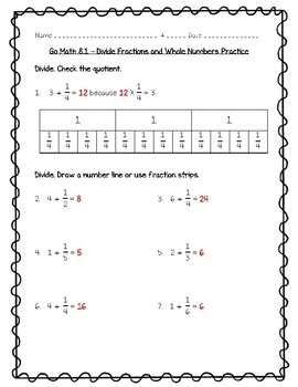 Go Math - 5th Grade Chapter 8 - Divide Fractions