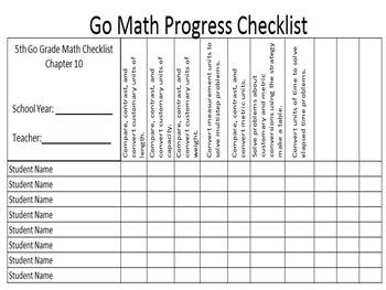 Go Math 5th Grade Data Checklists