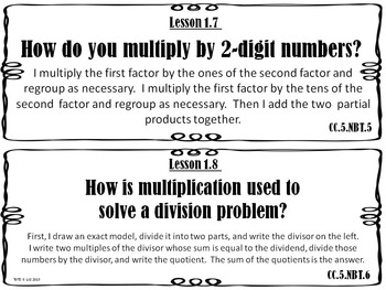 Go Math 5th Grade Essential Questions and I Can Statements