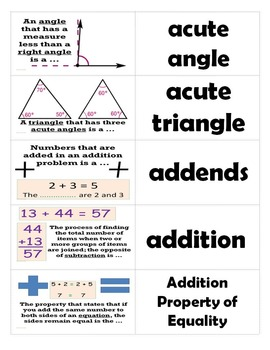Go Math 5th Grade Journal Vocabulary Sort Cards