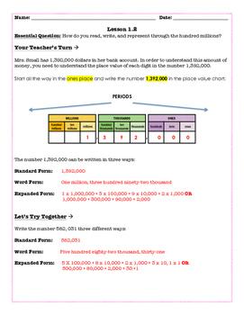 Go Math! 5th Grade  - Lesson 1.2 (Differentiated Page)