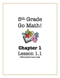 Go Math! 5th Grade - Lesson 1.1 (Differentiated Lesson Page)