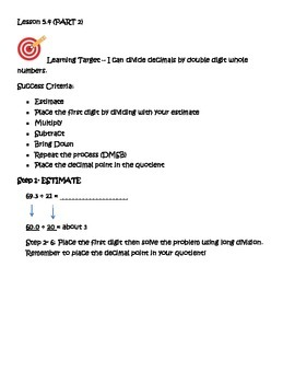 Go Math 5th Grade,Chapter 5 Modified Resource Bundle