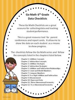 Go Math 6th Grade Data Checklists