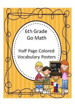 Go Math 6th Grade Half Page Colored Vocabulary Posters