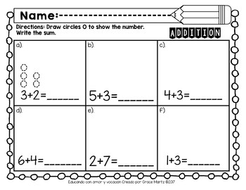 Go Math Addition Concepts (Addition to 10) FIRST GRADE