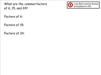 Go Math Aligned - Chapter 5 Lesson 3  Common Factors  4.OA.4