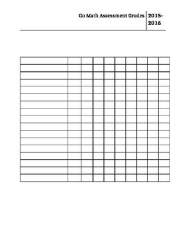 Go Math Assessment and quick check Grid