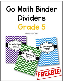 Go Math Binder Dividers/Covers: Grade 5