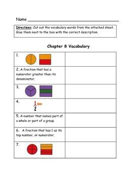 Go Math Bundled Set of Vocabulary Match Worksheets, ch. 1-12, 3rd Grade