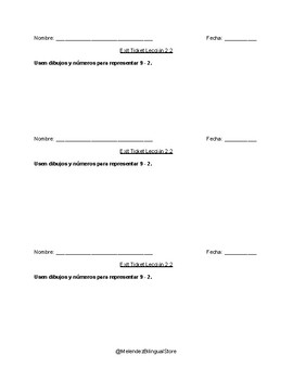Go Math Capitulo 2  Chapter 2 Spanish Espanol Exit Tickets