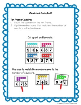 Go Math Center Activities - Represent and Compare Numbers to 10 (The Bundle)