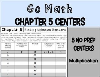 Go Math Centers Chapter 5