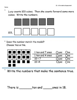 Go Math Ch. 6 (Count and Model Numbers) 1st Gr.-Formative Assessment