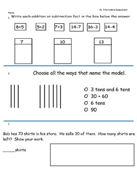Go Math Ch. 8 (Two-Digit Addition and Subtraction) 1st Gr.-Formative Assessment
