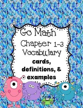 Go Math~ Chapter 1-3  Vocabulary Words 3rd grade