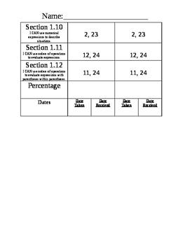 Go Math Chapter 1-5 Test Recording Sheet