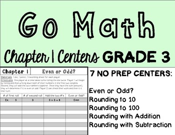 Go Math Chapter 1 Centers