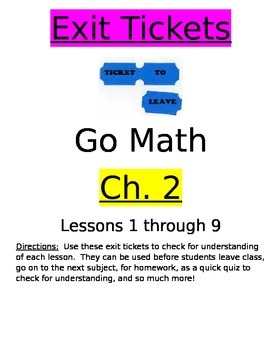 Go Math Chapter 2 Exit Slips/Quizzes/Quick Checks
