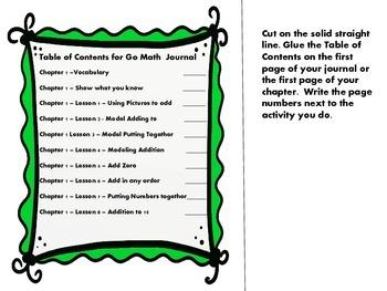 Go Math- Chapter 1 First Grade Interactive Journal