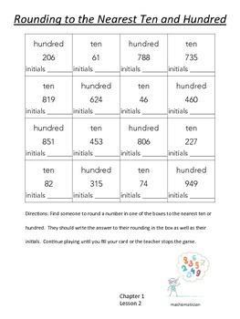 Go Math Gr. 3 Ch. 1 Lesson 2 Rounding to the Nearest Ten/Hundred Scavenger Hunt