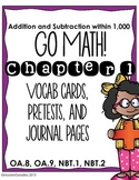 Go Math! Third Grade Chapter 1 Resource Kit: Pretest, Vocab cards, and Journals!