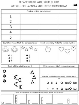 Go Math Chapter 1 Review Sheet (Kindergarten)