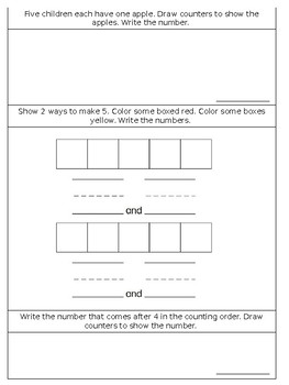 Math Chapter 1 Review Sheet (Kindergarten)