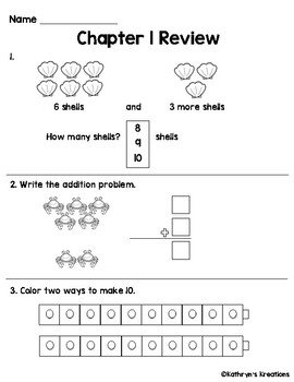 Go Math Chapter 1 Review Test: First Grade