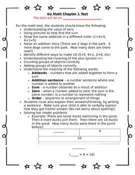 1st Grade Go Math Chapter 1 Study Sheet for Parents