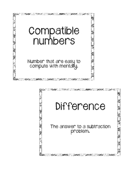 **Freebie**Go Math Chapter 1 Vocabulary Cards