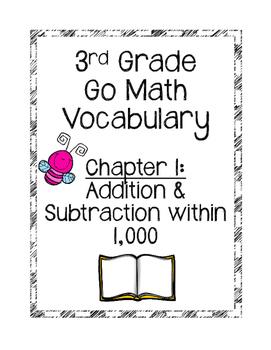 **Freebie**Go Math Chapter 1 Vocabulary Cards
