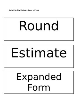 Go Math Word Wall Ch. 1: 4th grade