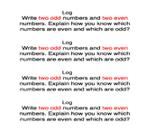 Go Math Chapter 1 Writing Logs