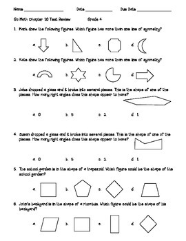 Go Math Chapter 10 - Two Dimensional Figures - 4th Grade - Review with Answers