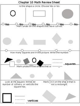 Math Chapter 10 Review Sheet Kindergarten By Kindergarten Kids
