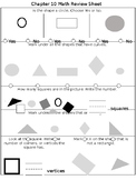 Math Chapter 10 Review Sheet (Kindergarten)