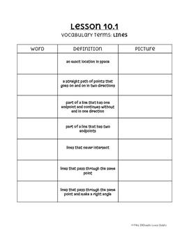 Go Math! Chapter 10 Vocabulary