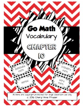 Go Math Chapter 10 Vocabulary (With and Without Pictures)