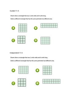Go Math Chapter 11 Lessons 1-10 *Area and Perimeter*
