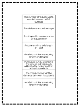 Go Math Chapter 11 Vocabulary 3rd Grade Sort