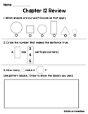 Go Math Chapter 12 Review Test: First Grade