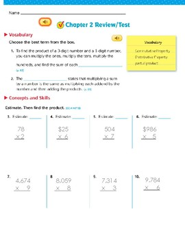 Go Math Chapter 2- 4th Grade- Study Guide or TEST