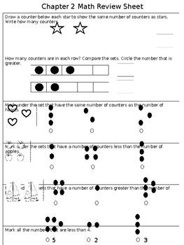 Math Chapter 2 Review Sheet Kindergarten By Kindergarten Kids Tpt
