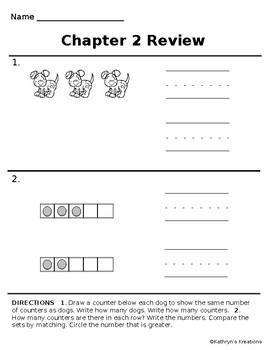 Go Math Chapter 2 Review Test: Kindergarten