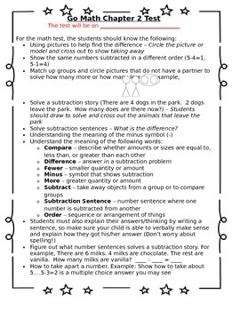 1st Grade Go Math Chapter 2 Study Sheet for Parents