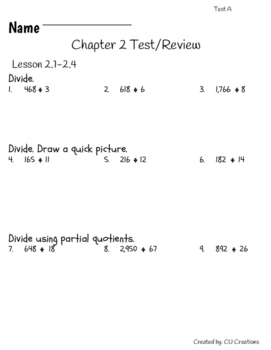 Go Math! Chapter 2 Test/Review with Answer Key by CU ...