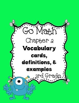 Go Math~ Chapter 2 Vocabulary Words 3rd grade
